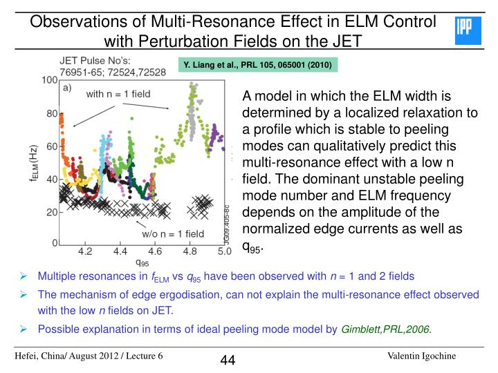 Observations of Multi-Resonance Effect in ELM Control with Perturbation Fields on the JET