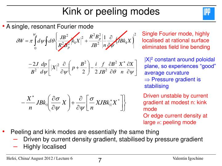 Kink or peeling modes
