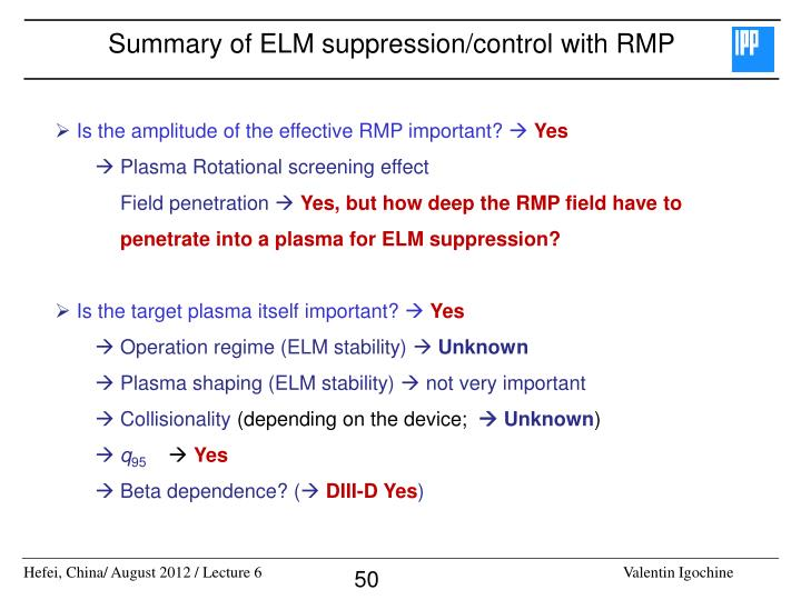 Summary of ELM suppression/control with RMP