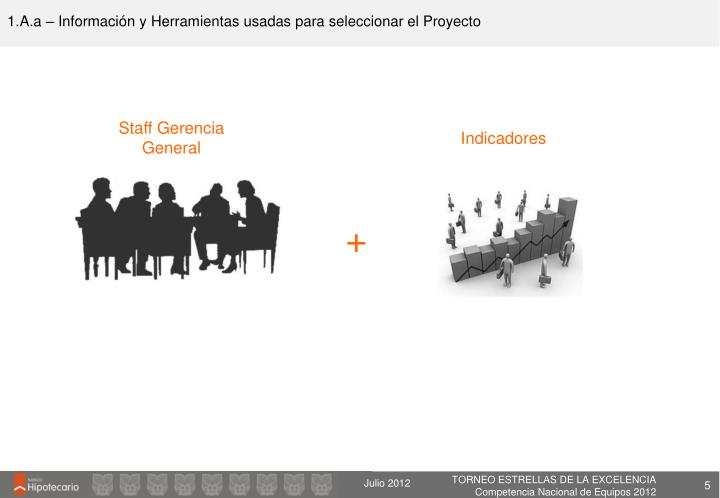 1.A.a – Información y Herramientas usadas para seleccionar el Proyecto