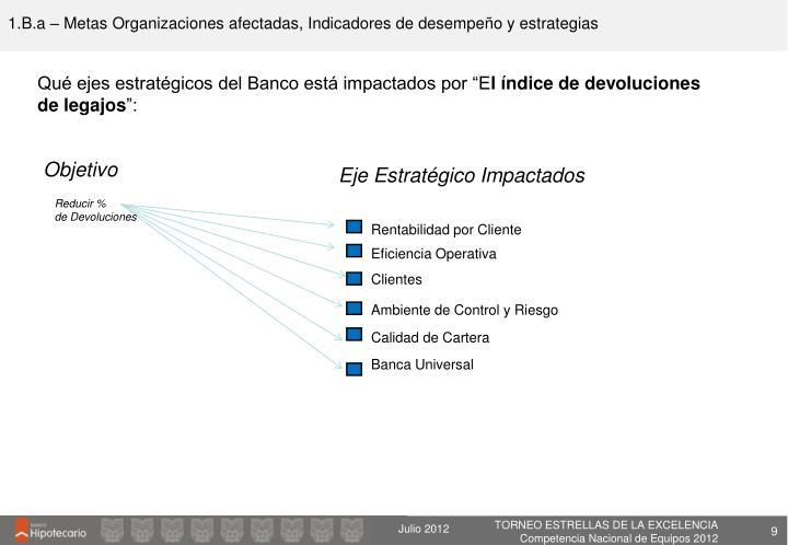 1.B.a – Metas Organizaciones afectadas, Indicadores de desempeño y estrategias