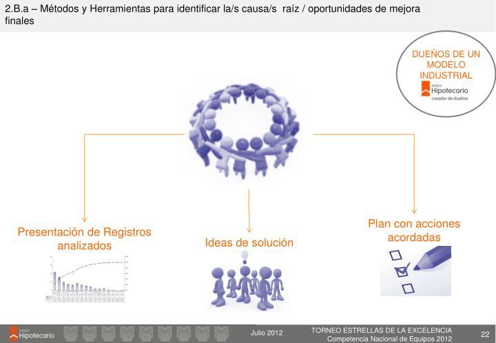 2.B.a – Métodos y Herramientas para identificar la/s causa/s  raíz / oportunidades de mejora finales