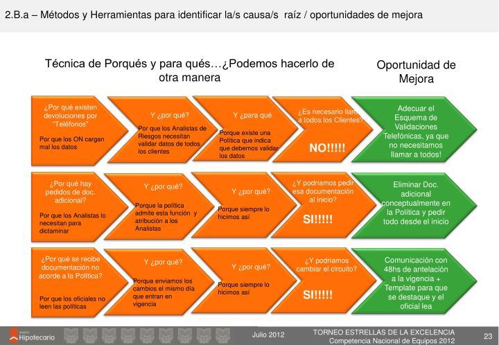 2.B.a – Métodos y Herramientas para identificar la/s causa/s  raíz / oportunidades de mejora