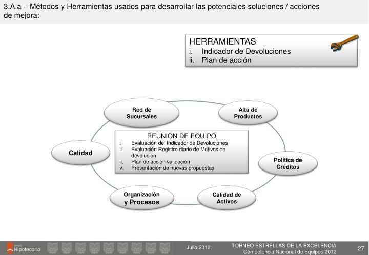 3.A.a – Métodos y Herramientas usados para desarrollar las potenciales soluciones / acciones de mejora: