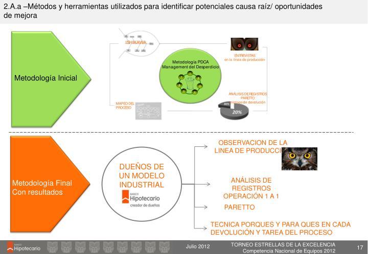 2.A.a –Métodos y herramientas utilizados para identificar potenciales causa raíz/ oportunidades de mejora