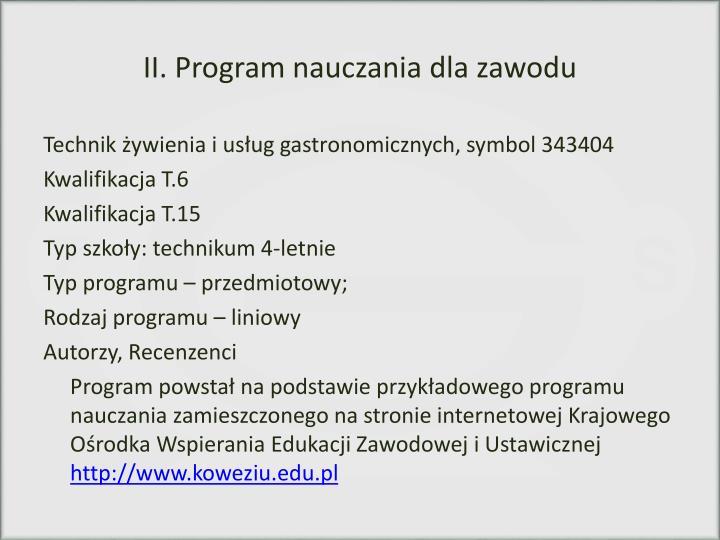 II. Program nauczania dla zawodu