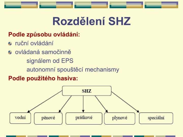 Rozdělení SHZ