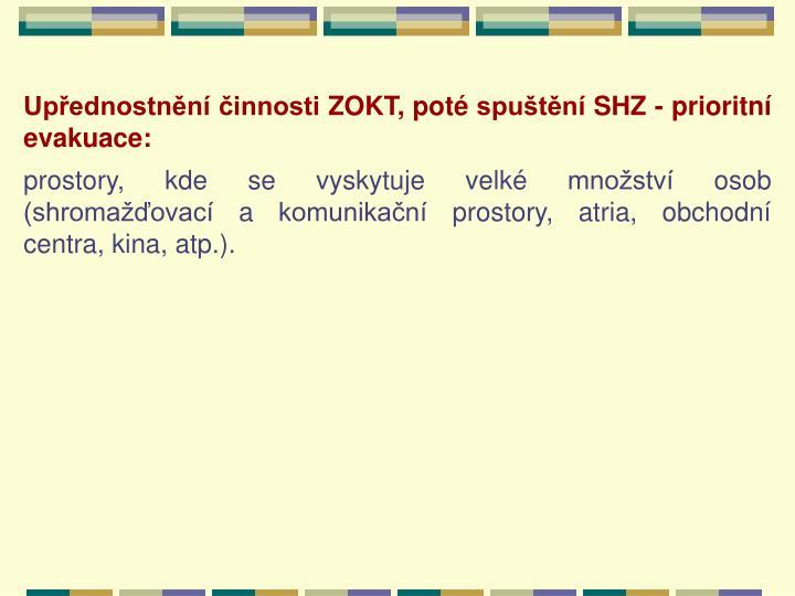 Upřednostnění činnosti ZOKT, poté spuštění SHZ - prioritní evakuace: