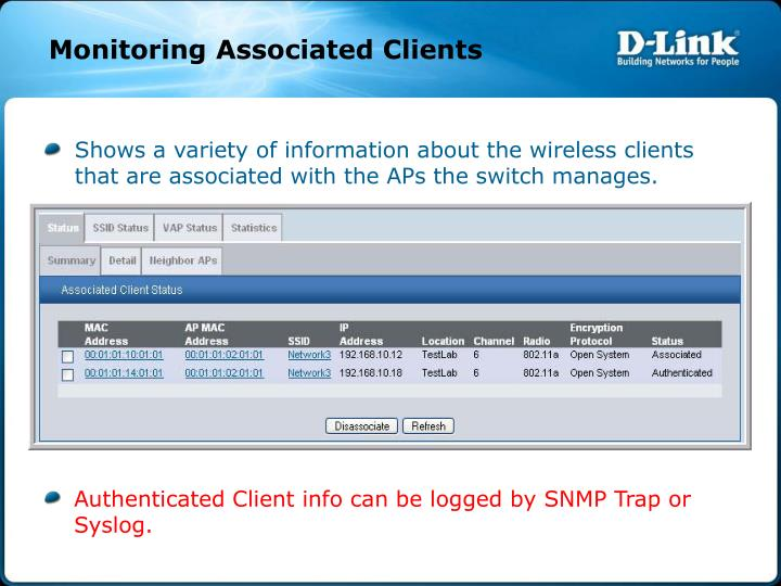 Monitoring Associated Clients