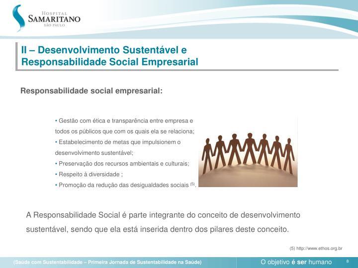 II – Desenvolvimento Sustentável e