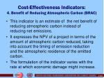 cost effectiveness indicators 4 benefit of reducing atmospheric carbon brac