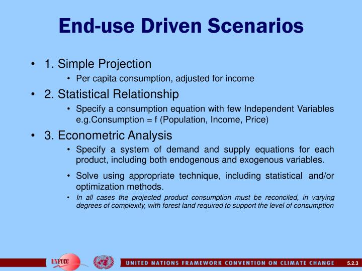 End use driven scenarios