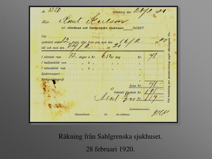 Räkning från Sahlgrenska sjukhuset.
