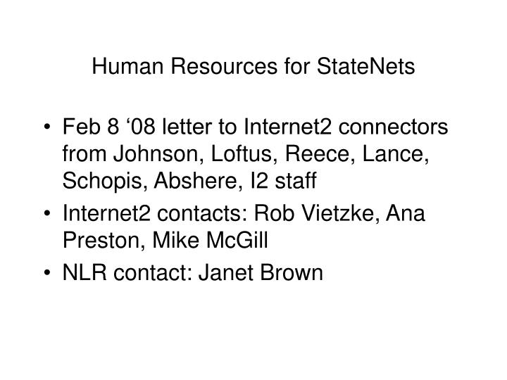 Human Resources for StateNets