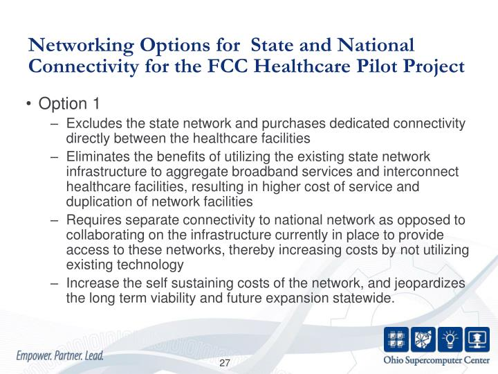 Networking Options for  State and National Connectivity for the FCC Healthcare Pilot Project