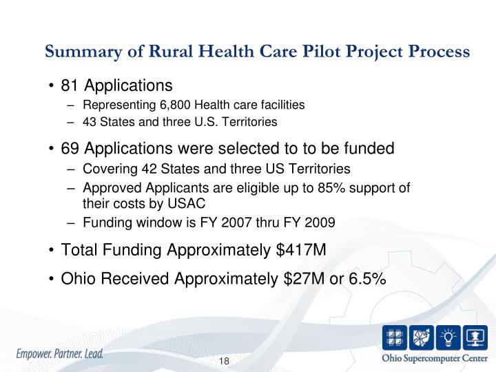 Summary of Rural Health Care Pilot Project Process