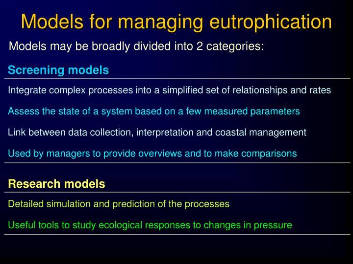Models for managing eutrophication