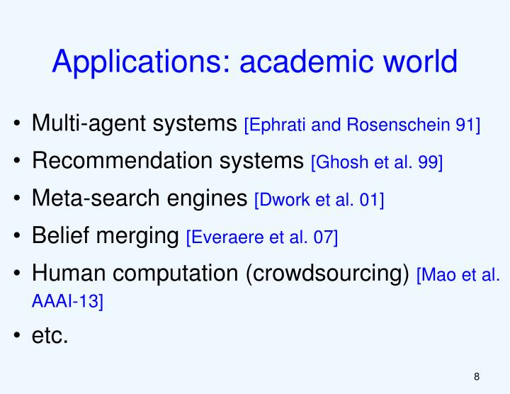Applications: academic world