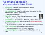 axiomatic approach what has been done in the past 50 years