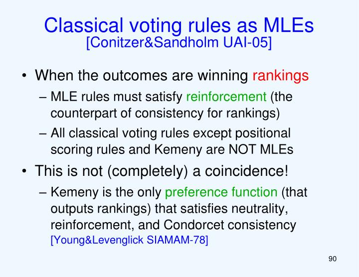 Classical voting rules as MLEs