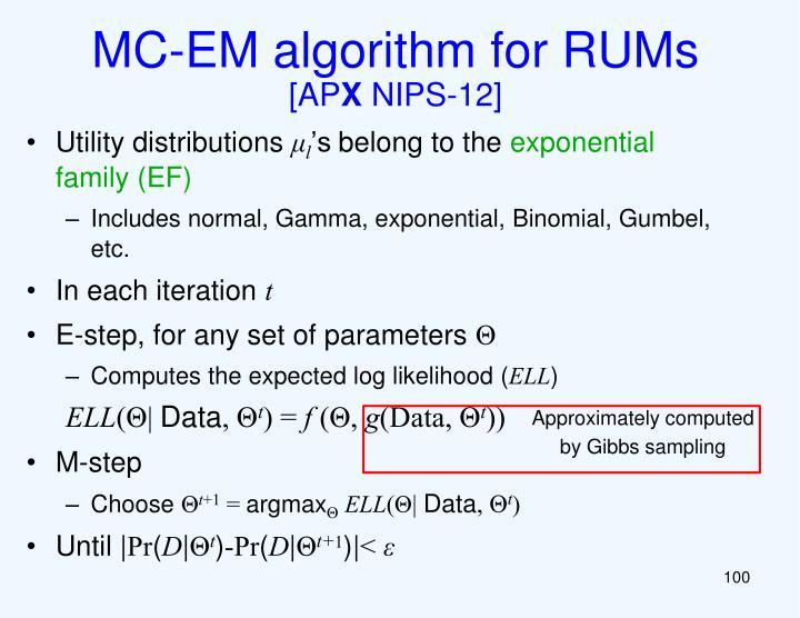 MC-EM algorithm for RUMs