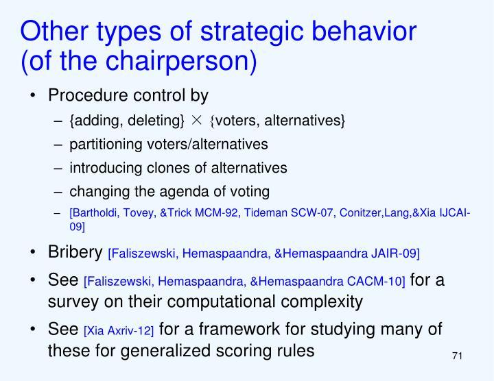 Other types of strategic behavior