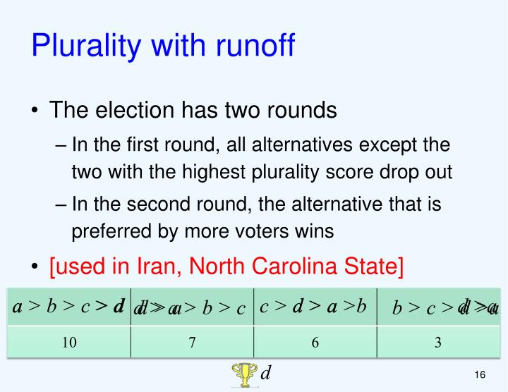 Plurality with runoff