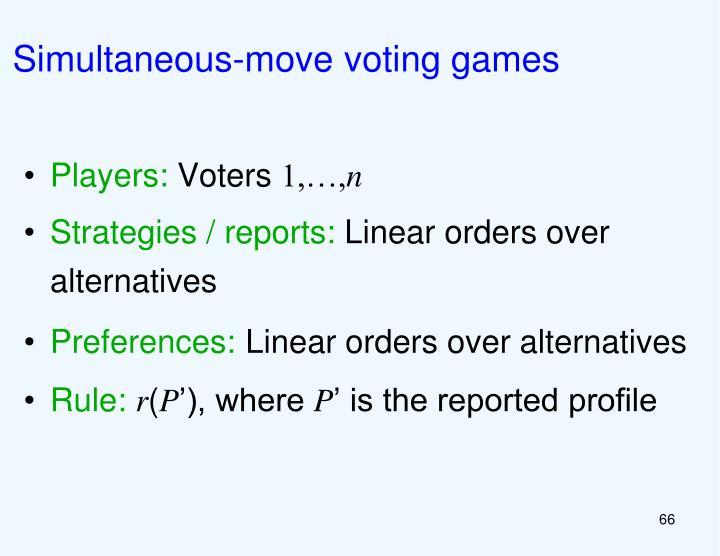 Simultaneous-move voting games