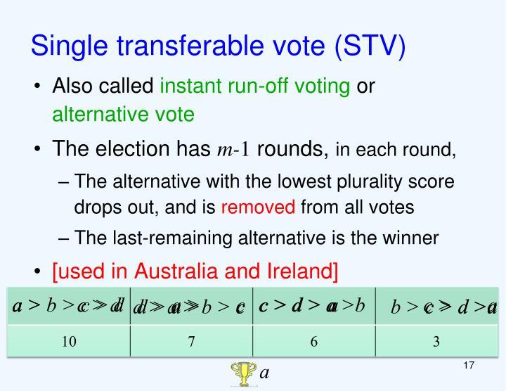 Single transferable vote (STV)