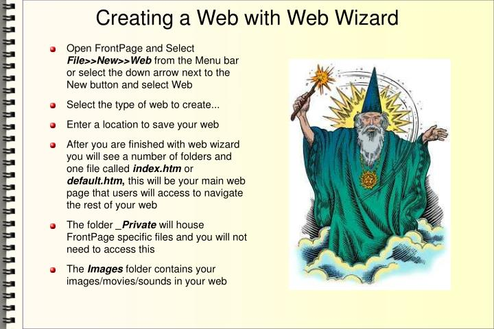 Creating a Web with Web Wizard