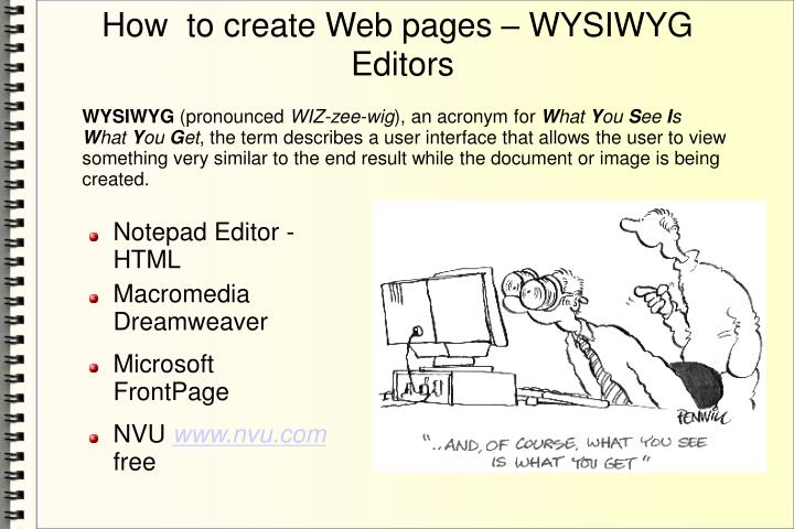 How  to create Web pages – WYSIWYG Editors