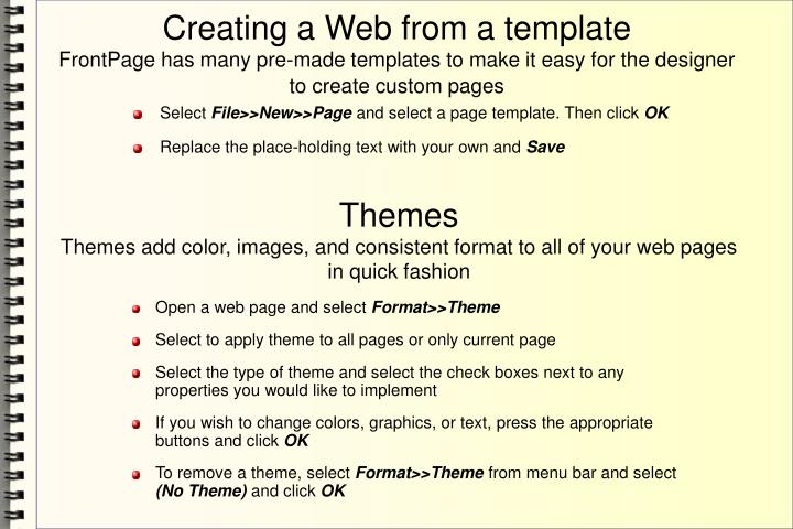 Creating a Web from a template