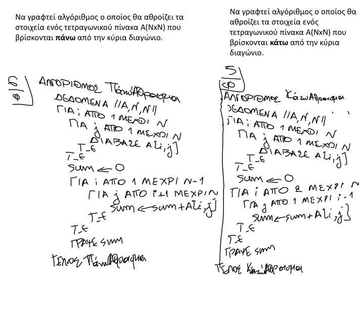 Να γραφτεί αλγόριθμος ο οποίος θα αθροίζει τα στοιχεία ενός τετραγωνικού πίνακα Α(Ν