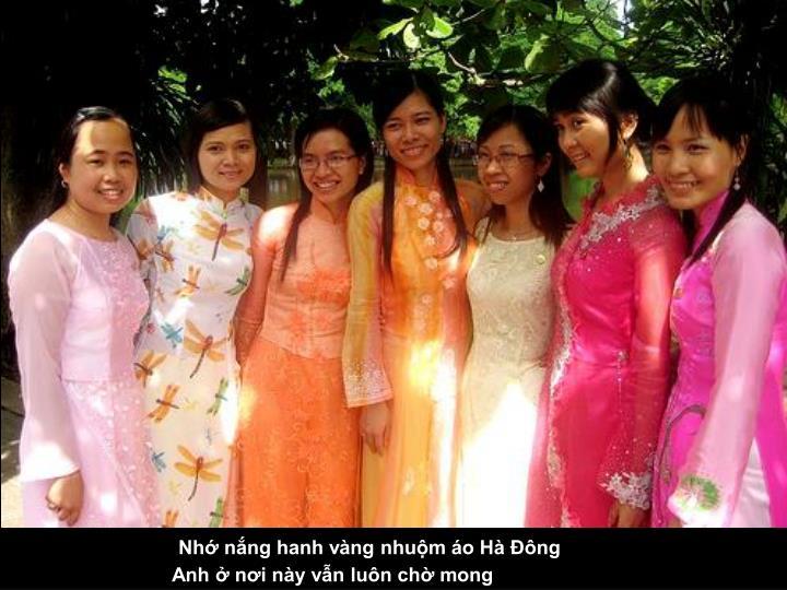 Nhớ nắng hanh vàng nhuộm áo Hà Đông