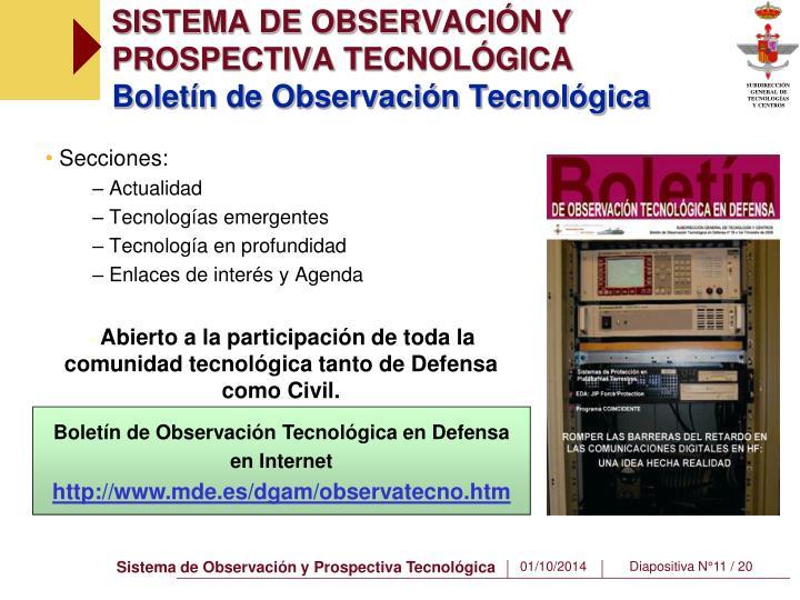 SISTEMA DE OBSERVACIÓN Y PROSPECTIVA TECNOLÓGICA