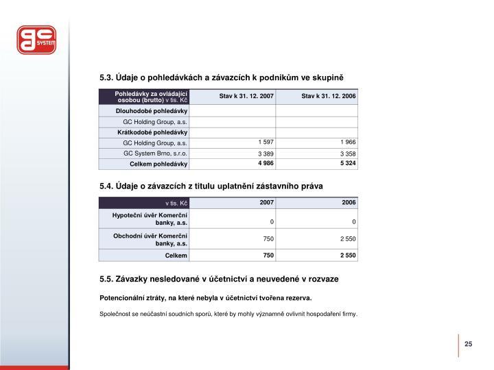 5.3. Údaje o pohledávkách a závazcích k podnikům ve skupině
