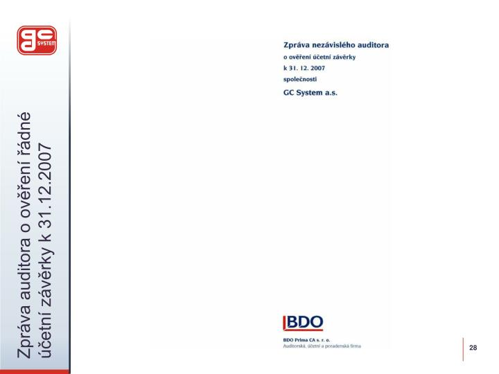 Zpráva auditora o ověření řádné