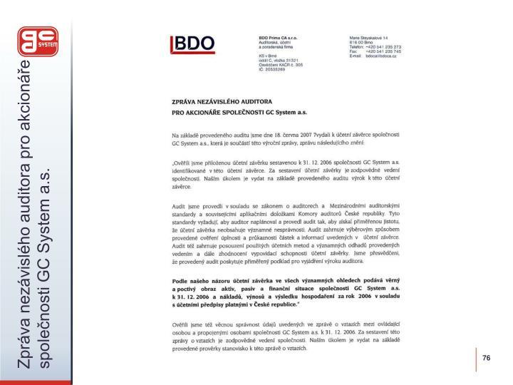 Zpráva nezávislého auditora pro akcionáře