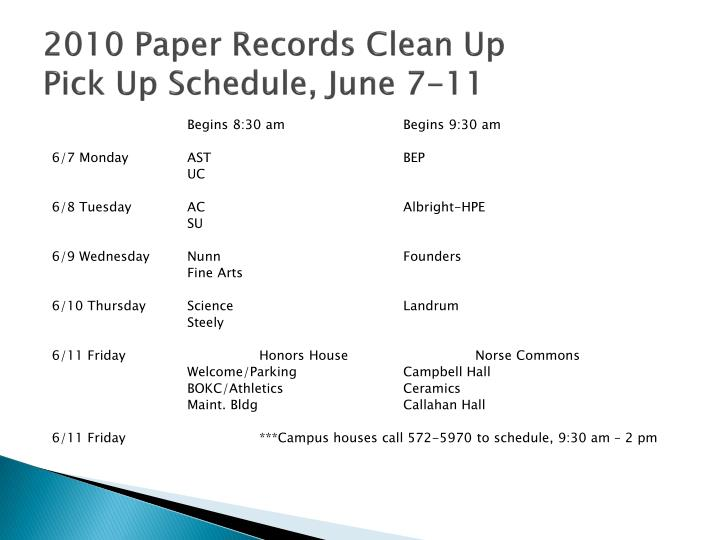 2010 Paper Records Clean Up
