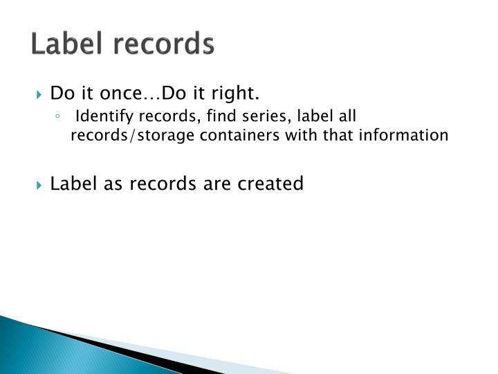 Label records