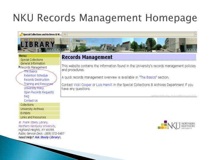NKU Records Management Homepage