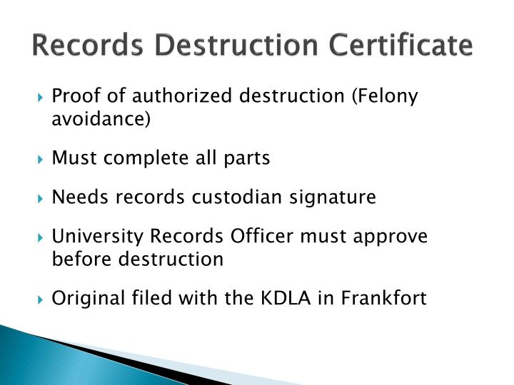 Records Destruction Certificate