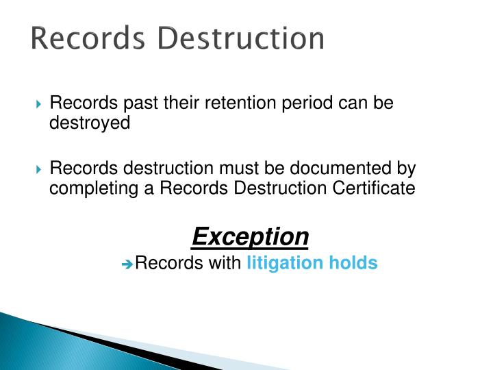 Records Destruction