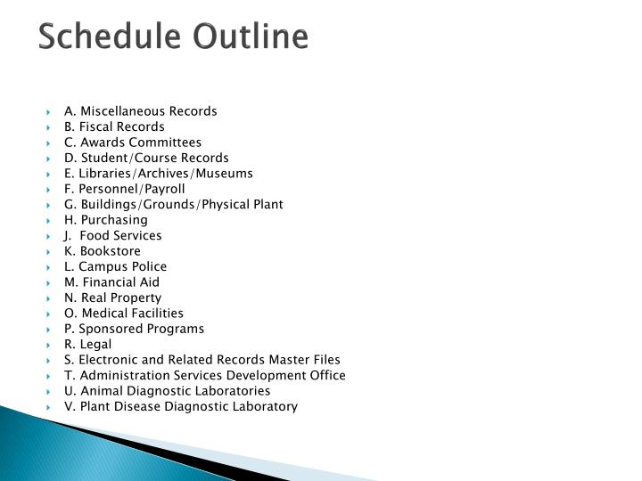 Schedule Outline