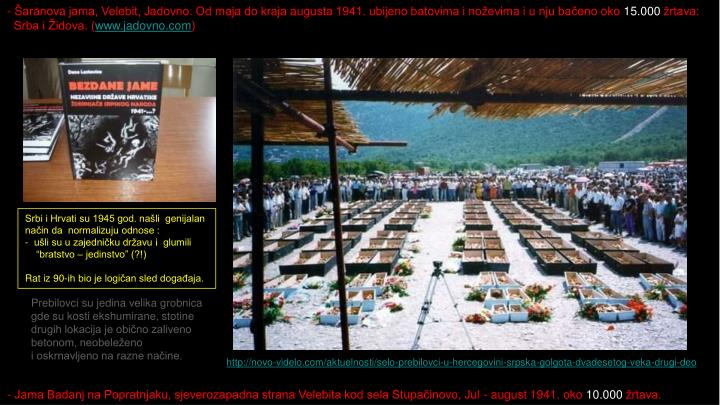 Šaranova jama, Velebit, Jadovno. Od maja do kraja augusta 1941. ubijeno batovima i noževima i u nju bačeno oko