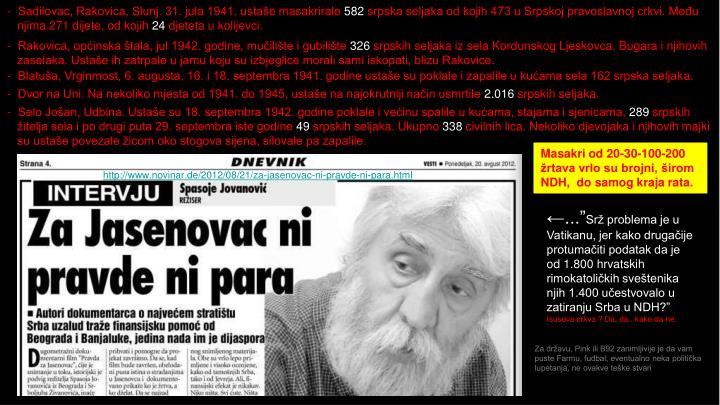 Sadilovac, Rakovica, Slunj. 31. jula 1941. ustaše masakrirale