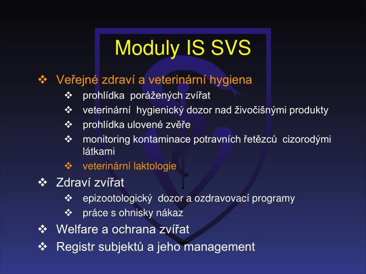 Moduly IS SVS
