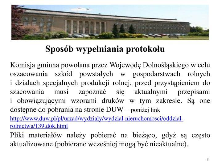 Komisja gminna powoana przez Wojewod Dolnolskiego w celu oszacowania szkd powstaych w gospodarstwach rolnych