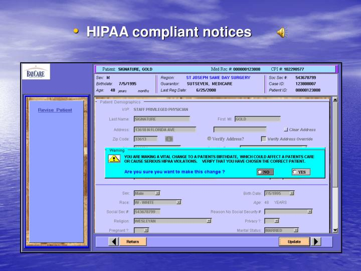 HIPAA compliant notices