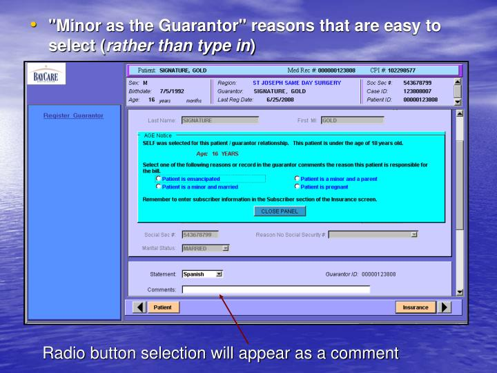 """Minor as the Guarantor"" reasons that are easy to select ("